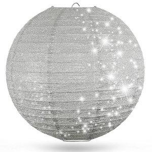 Lampion zilver glitter 80cm